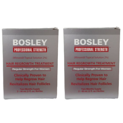 Bosley Hair Regrowth Treatment Minoxidil Solution 2% for Women - 2 Pack