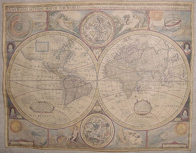 A New and Accvrat Map of the World Poster, 11 x 14, aged, accurate, 1626