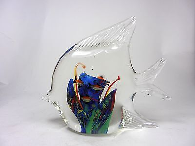 Murano Style Art Glass Paperweight Angel Fish Figurine