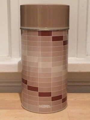 Vintage King Seeley Pint Size Vacuum Bottle Thermos Metal & Plastic Brown Op Art