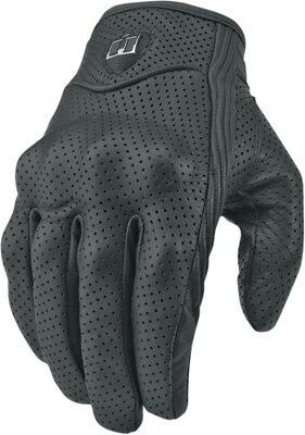 ICON Pursuit Perforated Short Leather Motorcycle Gloves (Black) Choose Size