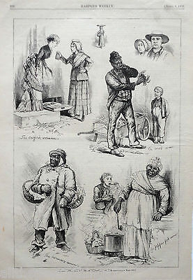 PHILADELPHIA Street People WORKERS Crab Cat Fish Antique 1876 MATTED Picture