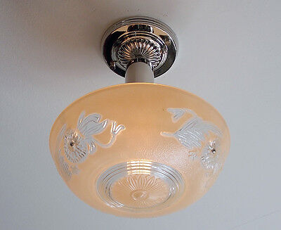 War Era Ceiling Light Vintage Glass Shade New Custom Nickel Beaded Chain Fixture