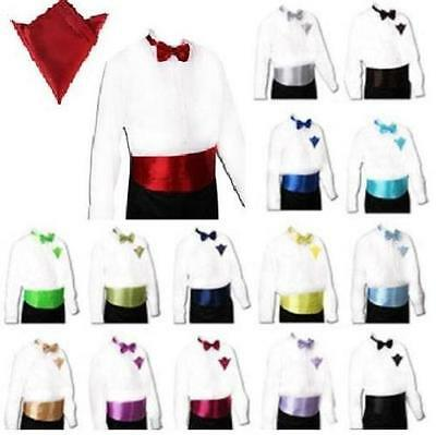 Satin Cummerbund and Bow Tie and Handkerchief Set 30 Colors Event Party Wedding