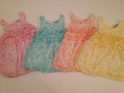 Kyle & Deena Baby Girl Summer Outfit Bubble Romper Size 3 6 9 Months Pink Blue
