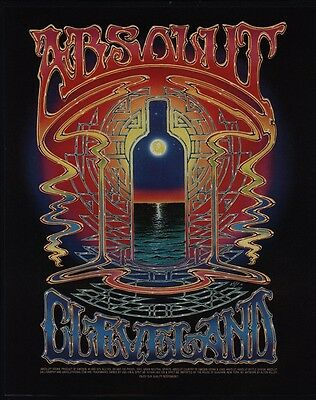 1999 ABSOLUT CLEVELAND Vodka - ALTON KELLEY Psychedelic Bottle Art - VINTAGE AD