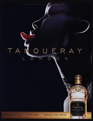 1999 Sexy Black Woman With Long Toungue - TANQUERAY Malacca Gin VINTAGE AD
