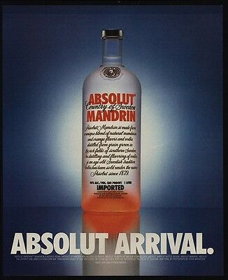 1999 ABSOLUT Arrival Mandrin - Orange Giant Vodka Bottle VINTAGE AD