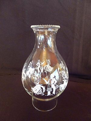 "Vintage Clear Glass Chimney Shade Beaded Top Mexican Dancers 8.5"" Tall 3"" Fitter"