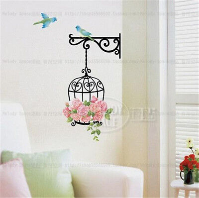 Flowers Rose cage birds Home room Decor Removable Wall Sticker Decal Decoration