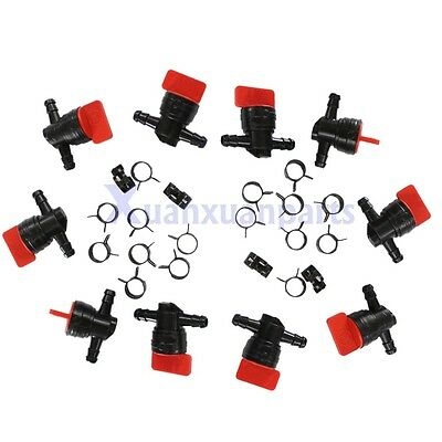 "10 x 1/4"" In-Line Straight Fuel Gas SHUT-OFF / CUT-OFF VALVES Petcock Motorcycle"