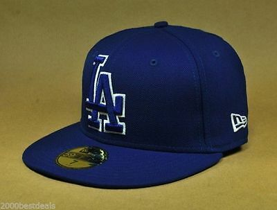 reputable site a3bbd fe5e9 New Era 59Fifty Los Angeles Dodgers Large Front Logo Hat Cap Royal Blue  Fitted
