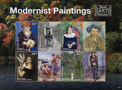 Grenada 2015 MNH Modernist Paintings 8v M/S Art Van Gogh Cezanne Monet Matisse