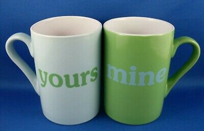 Ceramic YOURS & MINE Coffee Tea Mugs Pair VG Novelty His & Hers Mugs - In Aust
