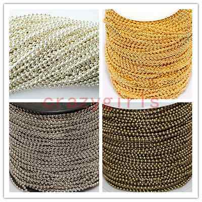 5M/100M Silver/Golden/Bronze Tone Metal Ball 2.4mm Round Chain Lots Fit Necklace