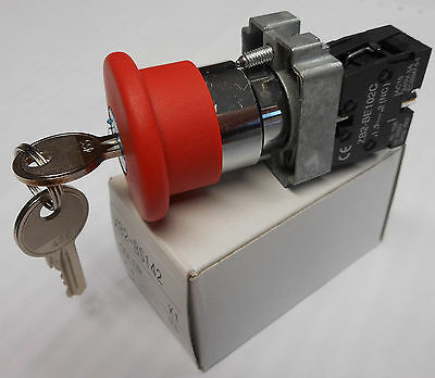 22mm Twist Reset RELEASE KEY EMERGENCY STOP BUTTON 1 N/c contact XB2-BS142