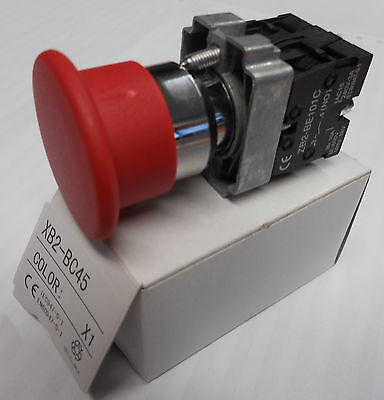 40mm  SPRING RETURN RED EMERGENCY STOP BUTTON NO + NC  contacts  XB2-BC45
