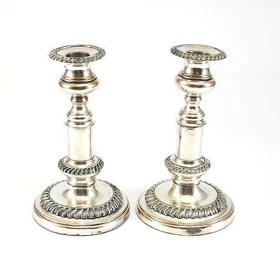c.1800 English Pair of Silverplate Telescopic Candlestick Holders