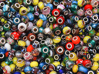 25 x Mixed Glass Lampwork / Murano Beads For European Charm Bracelets