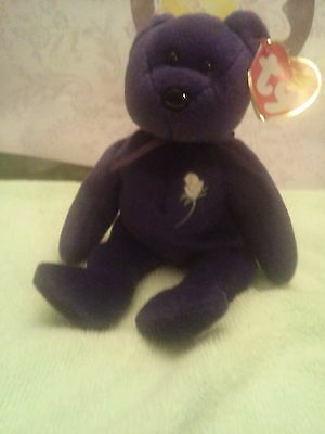 """Ty Beanie Bears """"Princess Di"""" 1997 Rare 1st edition  With Tag Errors Retired"""