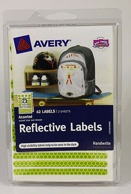 Avery Reflective Labels 2 Sheets of 21 -  42 / Pkg  Assorted Orange Green 40199