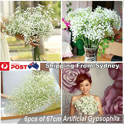 6X Artificial Flowers White Gypsophila Floral Bouquet Fake Wedding Home Decor
