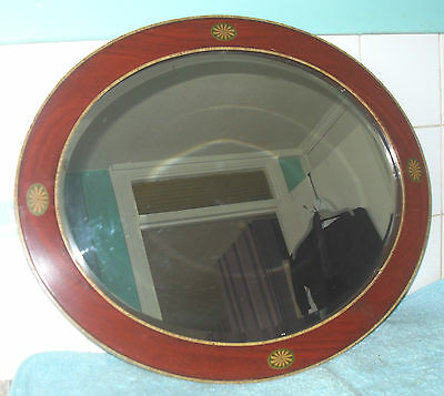 ANTIQUE EDWARDIAN c1905 OVAL MAHOGANY INLAID BEVEL GLASS WALL MIRROR