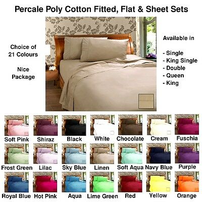 Poly Cotton Sheet Sets, Fitted & Flat Sheets 21 Colours - All Sizes Free Postage