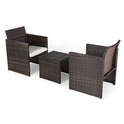 Outdoor Garden Furniture Rattan 2 Armchairs Square Bistro Set Patio Table