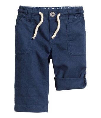 H&M Baby Boy Girl Unisex linen cotton two way roll up summer pants navy blue