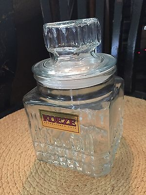 Vintage KOEZE Square Glass Canister Apothecary Candy Jar