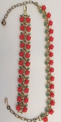 Vintage 50s Thermoset Coral Pink Carved Rose Necklace Bracelet Set Excellent!