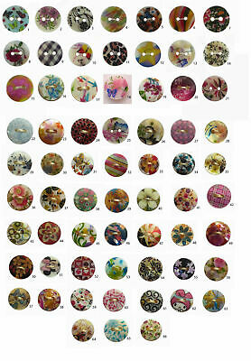 Pack of seven, two hole 10mm shell MOP buttons floral & many different designs.