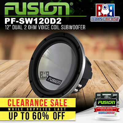 "Fusion Pf-sw120d2 12"" Dvc 1600w Dual 2 Ohm Car Audio Subwoofer Sub Woofer Stereo"