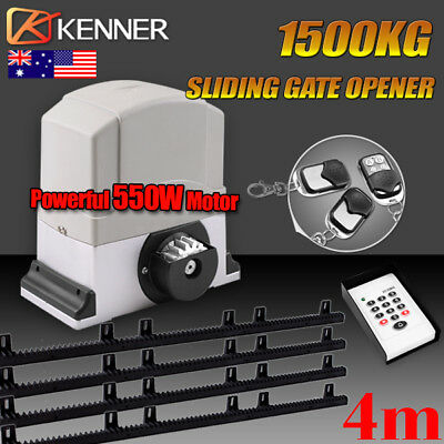 New Sliding Electric Gate Opener 1500KG Automatic Motor Remote Kit Heavy Duty 4m