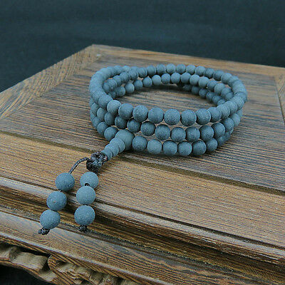 8mm Tibet Buddhism 108 Black Amber Beads Mala Necklace