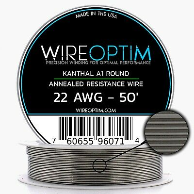 22 Gauge AWG Kanthal A1 Wire 50' Length - KA1 Wire 22g GA 0.64 mm 50 ft