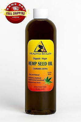 HEMP SEED OIL UNREFINED ORGANIC by H&B Oils Center COLD PRESSED PURE 12 OZ
