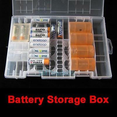 Battery Holder Case Hard Plastic Storage Box Rack Transparent for AAA AA C D 9V