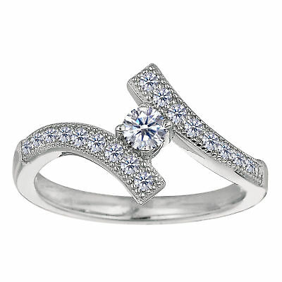 925 Sterling Silver Rhodium Plated Micropave With CZ Adjustable Toe Ring