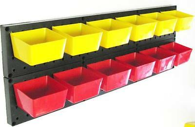 Lot NEW Parts Storage Bins - Hooks to Peg Tool Board Workbench Kit Yellow or Red