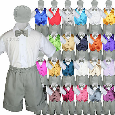 1304b5050aa3 New Baby Boys Toddler Formal Vest Shorts Suit Vest 5pc Silver Bow Tie Set S-