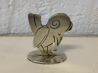 Cute Small 800 Silver Unknown Age Bird Figurine or Paperweight w/ Hallmarks