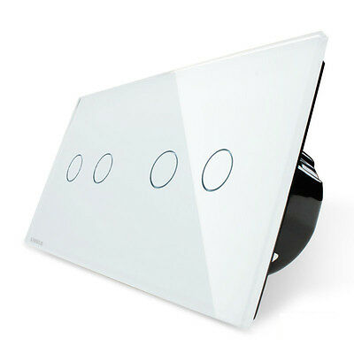 Livolo white EU 4 Gang 1 Way Touch Panel Crystal Glass LED Indicator Switch