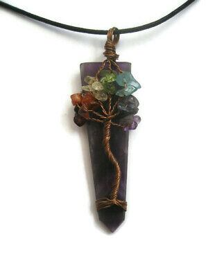 Chakra Tree Of Life Amethyst Crystal Gemstone Pendant with Cord Necklace