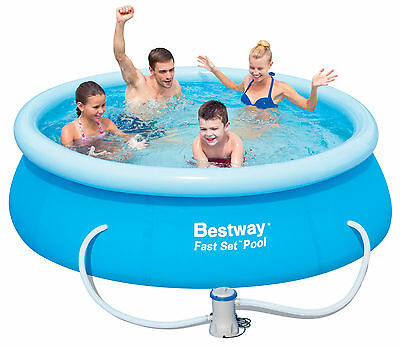 Bestway Fast Set Round Pool Outdoor Family Swimming 8ftx26 in. with Filter Pump
