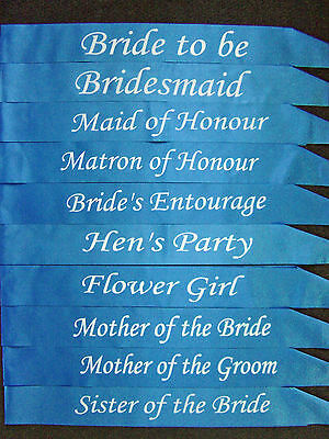 Electric Blue - Hens Night Wedding Bridal Bride Bridesmaid Maid of Honour Sash