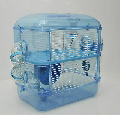 Fantazia Large Blue Hamster Cage Small Animal Cage With Sparkly Glitter 2 Storey