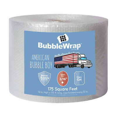 """12"""" Wide 175' Long 3/16"""" Small Bubbles Bubble Wrap Perforated Every 12"""""""