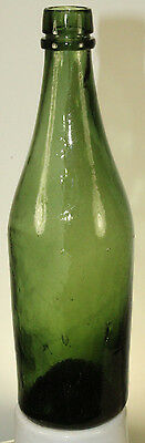 Antique  Hand Blown 3 Piece Mold Beer Or Ale Bottle Nice Color